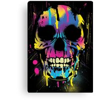 Cool Skull with Colorful Paint Drips and Splatters  Canvas Print