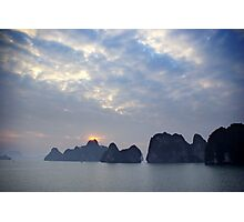Sunrise in the Halong bay in Vietnam Photographic Print