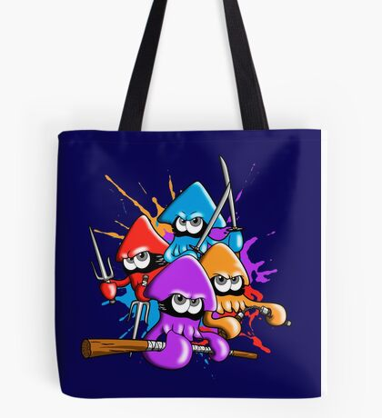 Teenage splatter ninja squids. Tote Bag