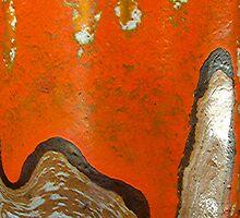 Macro of an old German orange vase  by Michael Brewer