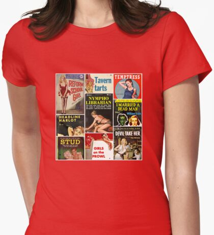 Pulp Fiction Cover Collage Womens Fitted T-Shirt