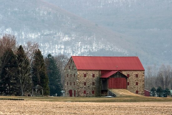 Snyder's Stone Barn ...After A March Sunset by Gene Walls