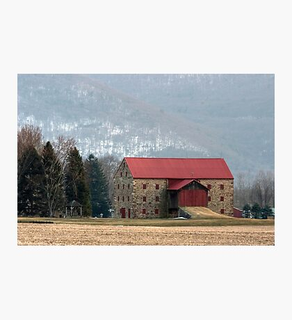 Snyder's Stone Barn ...After A March Sunset Photographic Print