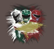 White,Green,Red Rangers One Piece - Short Sleeve