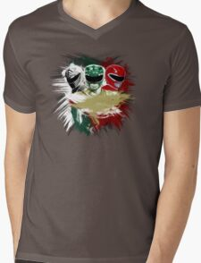 White,Green,Red Rangers Mens V-Neck T-Shirt