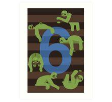 Six Slovenly Sloths Art Print