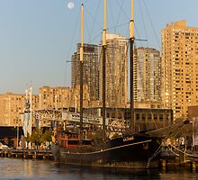 Tall Ship and Full Moon at Toronto Harbourfront by Georgia Mizuleva