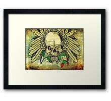 Cool Skull with Wings and Dead Rose Framed Print