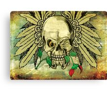 Cool Skull with Wings and Dead Rose Canvas Print