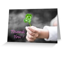 Four-Leaved Clover in a Child Hand - Thank You Greeting Card