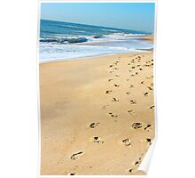 Footprints Along the Shoreline Poster