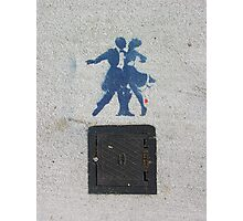 Sidewalk Dancers (stencil graffiti) Photographic Print