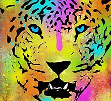POP Tiger - Colorful Paint Splatters and Drips - Stained Canvas Art  by Denis Marsili - DDTK