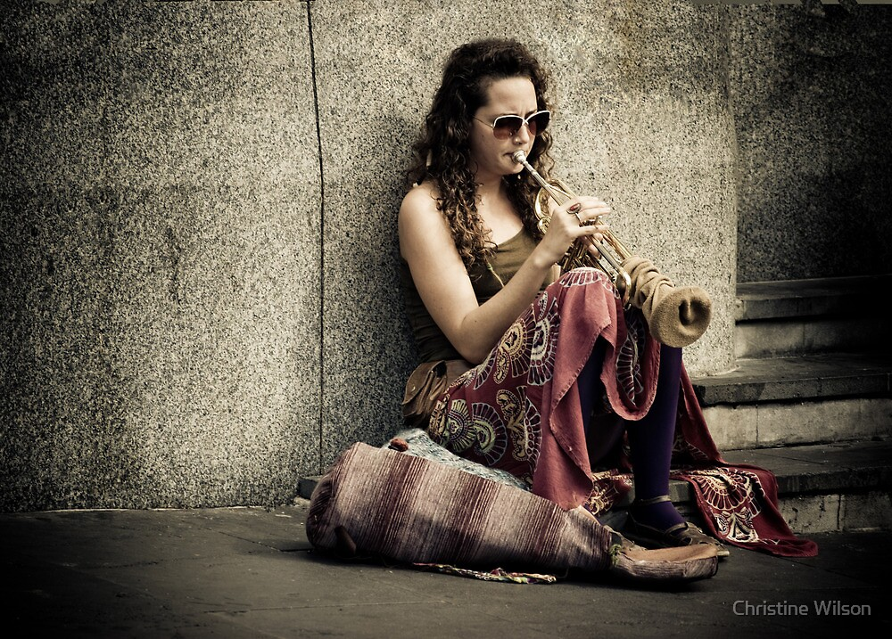 Flinders Busker  by Christine  Wilson Photography