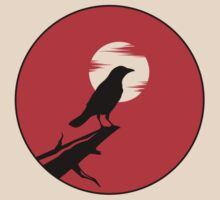 The Crow (red sky transparent moon) by Rustyoldtown