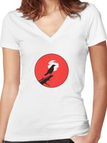 The Crow (red sky transparent moon) Women's Fitted V-Neck T-Shirt