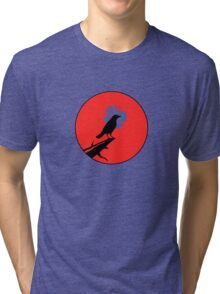 The Crow (red sky transparent moon) Tri-blend T-Shirt