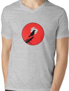 The Crow (red sky transparent moon) Mens V-Neck T-Shirt