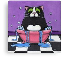 Fat Cat Takes A Bath Canvas Print
