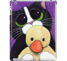 Scared Tuxedo Cat with Toy Duck iPad Case/Skin