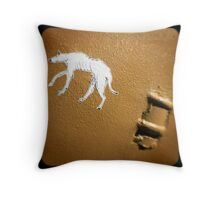 dog on a wall Throw Pillow