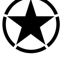 ARMY, Army Star & Circle, Jeep, War, WWII, America, American, USA, in Black by TOM HILL - Designer
