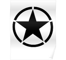 Army Star & Circle, Jeep, War, WWII, America, American, USA, in Black Poster