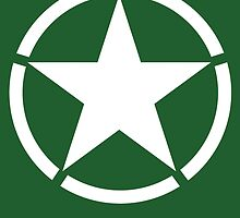 Army Star & Circle, WW11, Jeep, USA, America, American, White on Green by TOM HILL - Designer