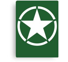 AMERICAN ARMY, Army Star & Circle, WW11, Army Star, Jeep, USA, America, American, White on Green Canvas Print