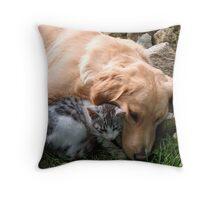 Best friend, cat and dog. Throw Pillow