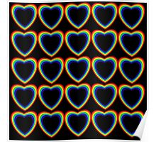 Rainbow Hearts Black Background Poster
