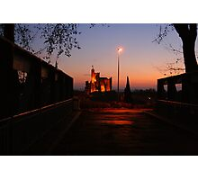 Floodlit church at Capestang France Photographic Print