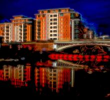 Leeds Water Front Night Time Impressionist by Glen Allen