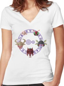 Digimon: Crest of Knowledge Women's Fitted V-Neck T-Shirt