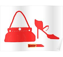 RED BAG SHOES AND LIPPY   Poster