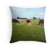 Happy Cows - with their hay Throw Pillow