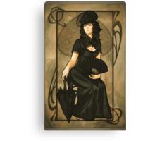 Poker Art Nouveau: 'Queen of Spades' Canvas Print