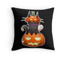 Jack O' Lantern Cat Throw Pillow