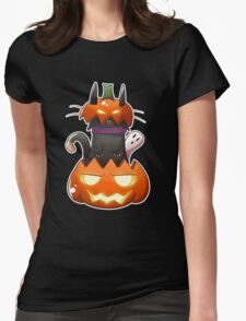 Jack O' Lantern Cat Womens Fitted T-Shirt
