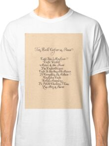 Best cafes in Paris handwritten calligraphy art Classic T-Shirt