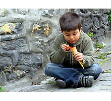 A Child and His Cone Photographic Print