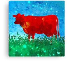 Red Cow in Field Canvas Print