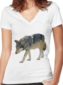 Crystalline Timber Wolf Women's Fitted V-Neck T-Shirt