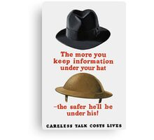 Careless Talk Costs Lives -- WW2 Canvas Print