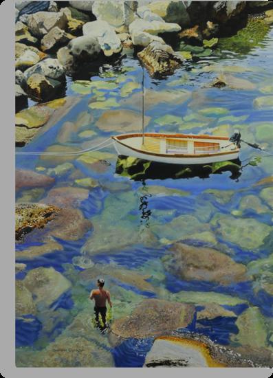 Knee deep in Riomaggiori Harbour by Graham Clark