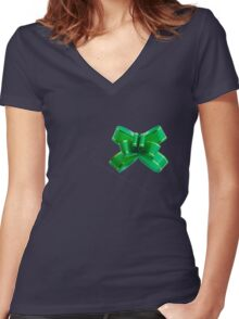 Ribbon Women's Fitted V-Neck T-Shirt