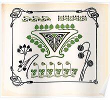 Maurice Verneuil Georges Auriol Alphonse Mucha Art Deco Nouveau Patterns Combinaisons Ornementalis 0031 Poster