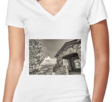 GEOLOGY HUT IN SEPIA Women's Fitted V-Neck T-Shirt