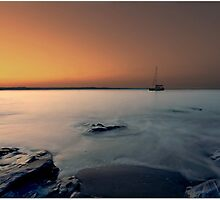 Sunset over Polkerris,Cornwall by Laura Davey