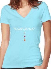 Take This - Companion Cube Women's Fitted V-Neck T-Shirt